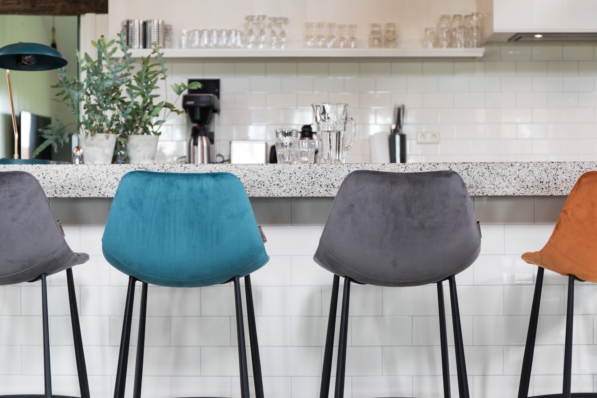 Franky Velvet Counter Stool Barstool Dutchbone